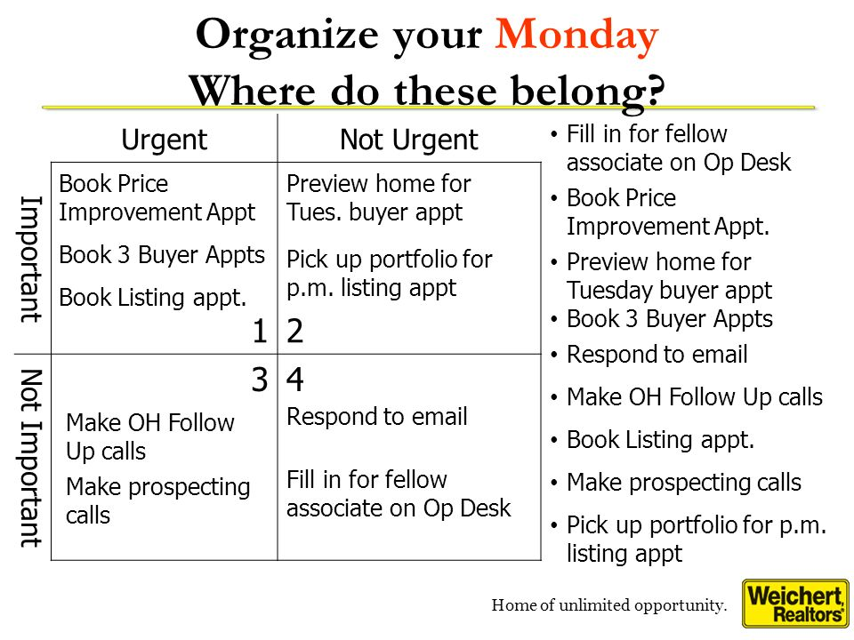 Organize your Monday Where do these belong