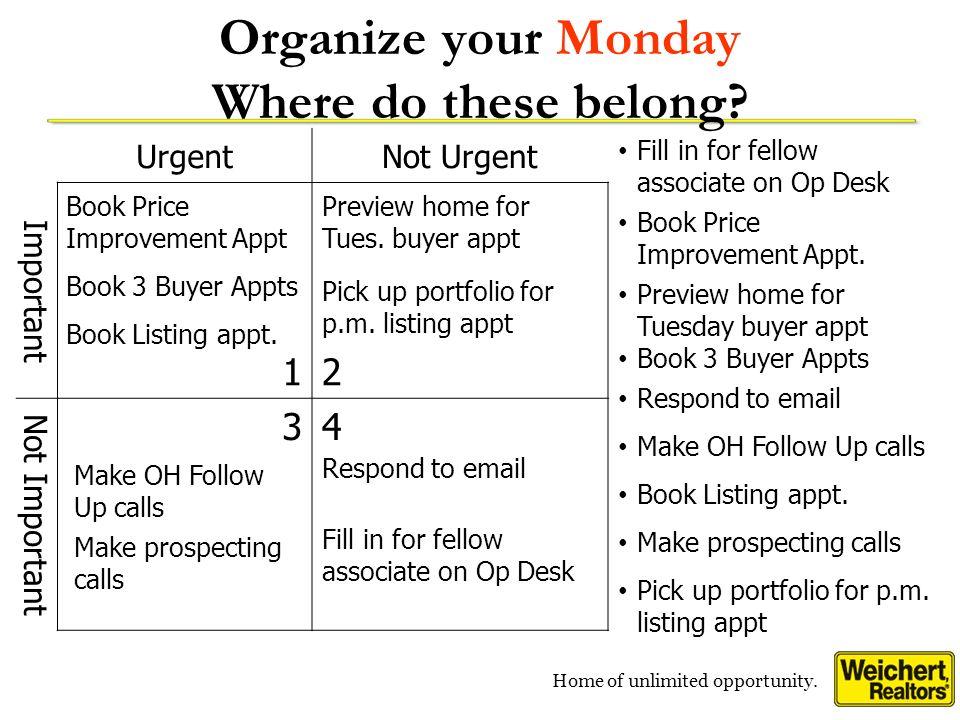 Organize your Monday Where do these belong
