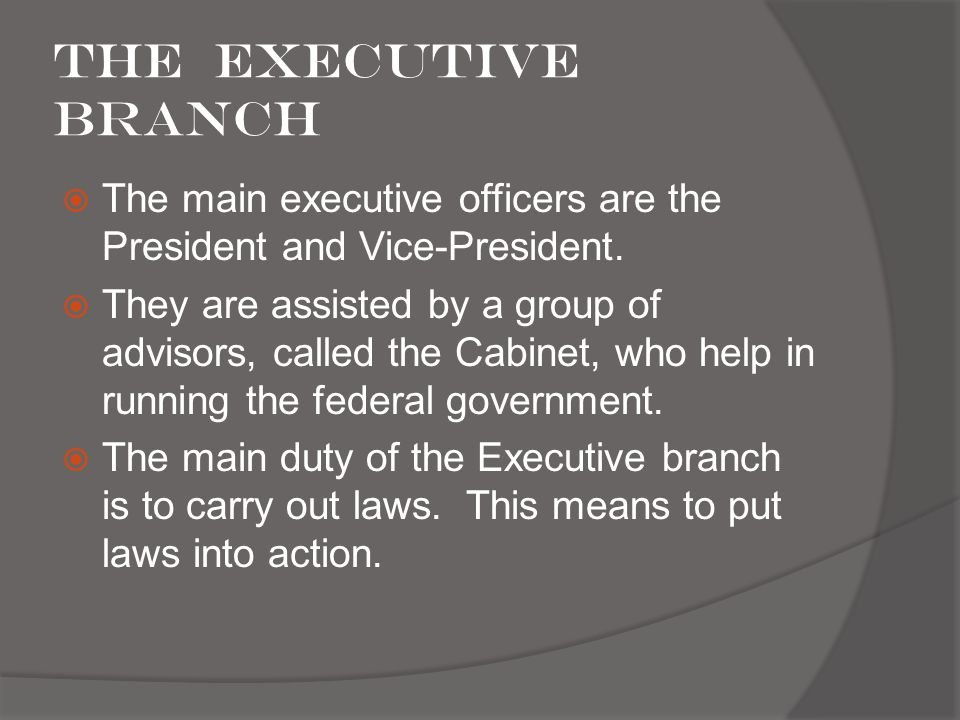 The Executive Branch The main executive officers are the President and Vice-President.