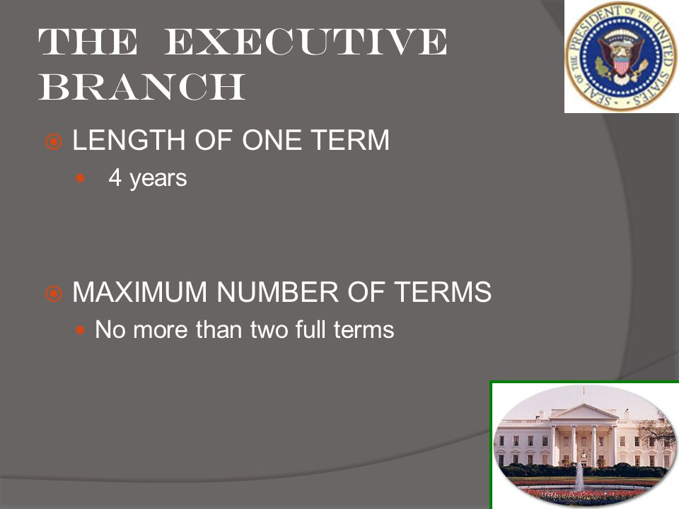 The Executive Branch LENGTH OF ONE TERM MAXIMUM NUMBER OF TERMS