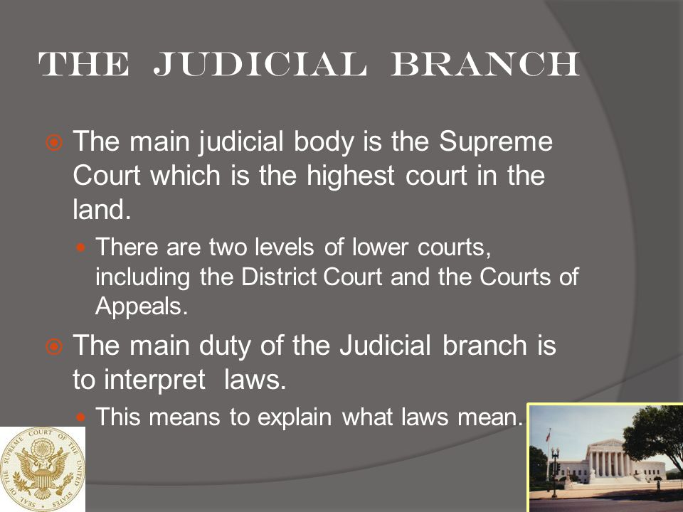 The Judicial branch The main judicial body is the Supreme Court which is the highest court in the land.