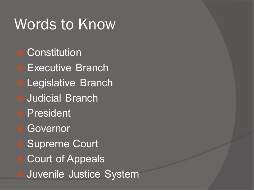 Words to Know Constitution Executive Branch Legislative Branch
