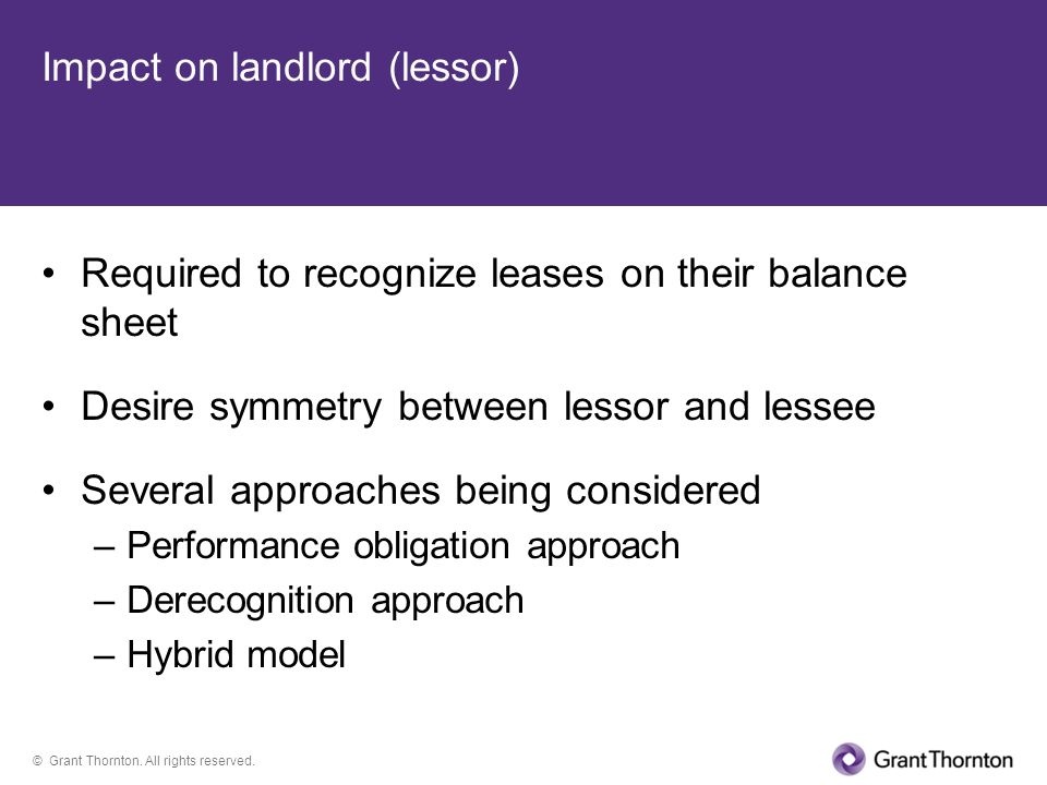 Impact on landlord (lessor)