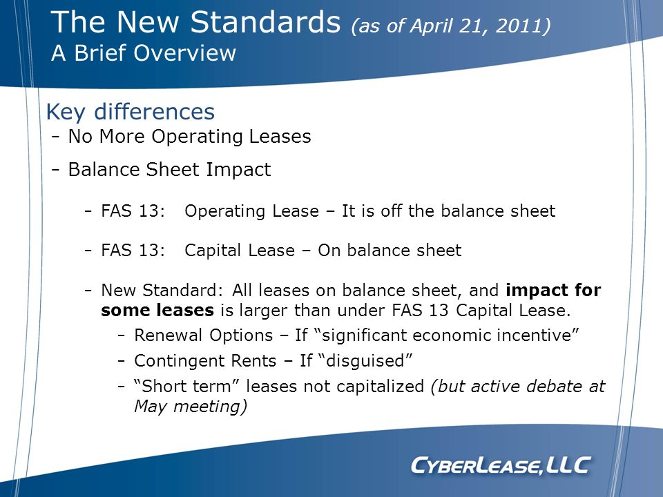 The New Standards (as of April 21, 2011)