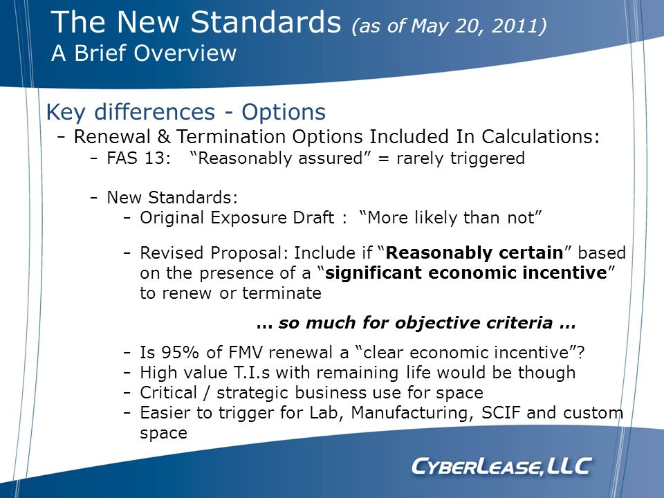 The New Standards (as of May 20, 2011)