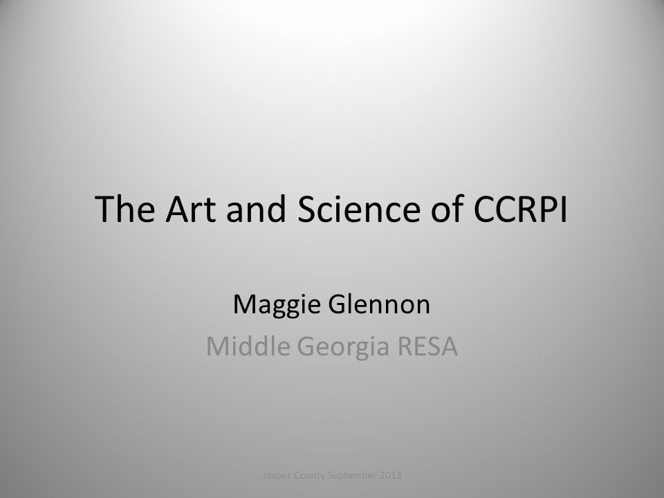 The Art and Science of CCRPI