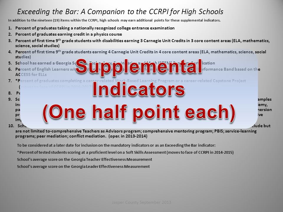 Exceeding the Bar: A Companion to the CCRPI for High Schools
