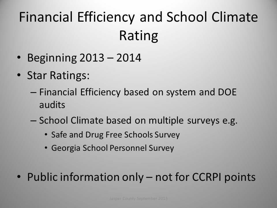 Financial Efficiency and School Climate Rating