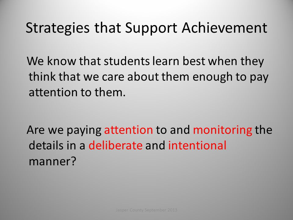Strategies that Support Achievement