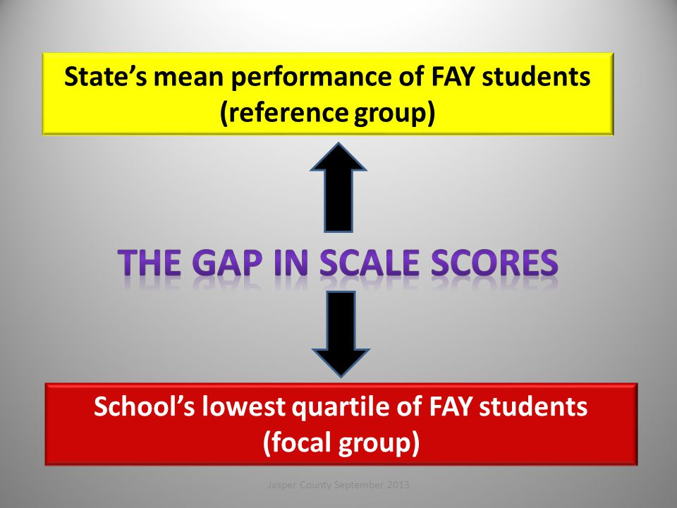 THE GAP in Scale Scores State's mean performance of FAY students