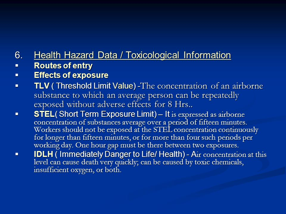 Health Hazard Data / Toxicological Information