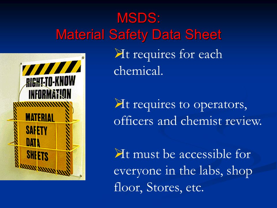 MSDS: Material Safety Data Sheet