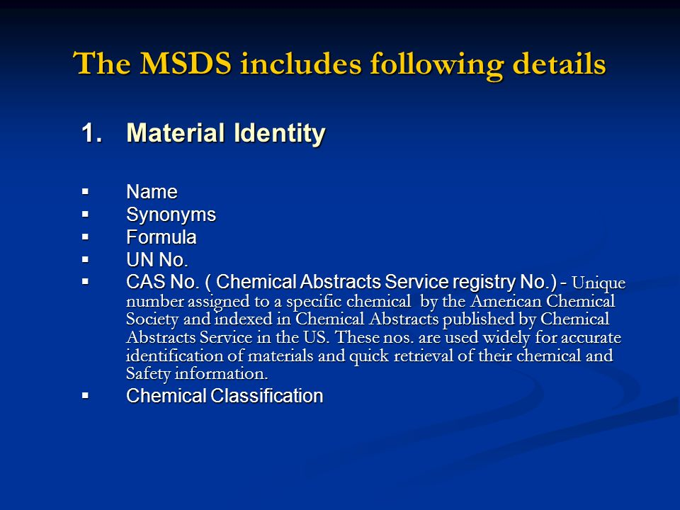 The MSDS includes following details