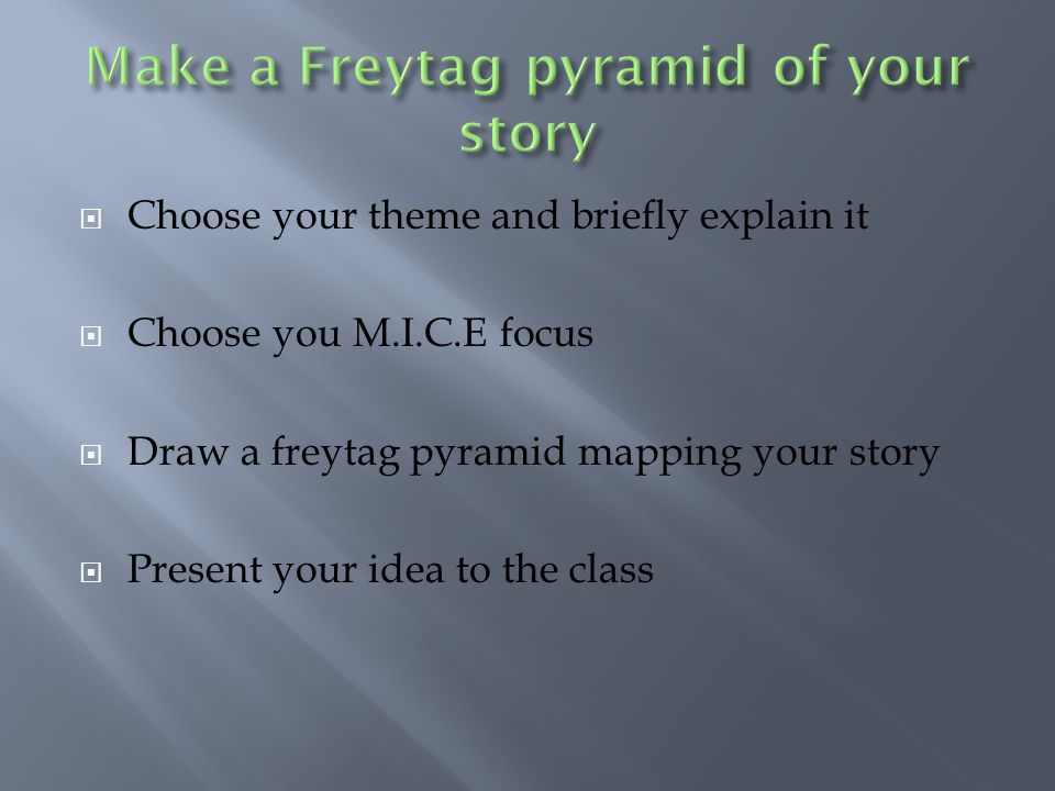 Make a Freytag pyramid of your story