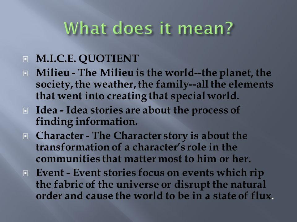 What does it mean M.I.C.E. QUOTIENT