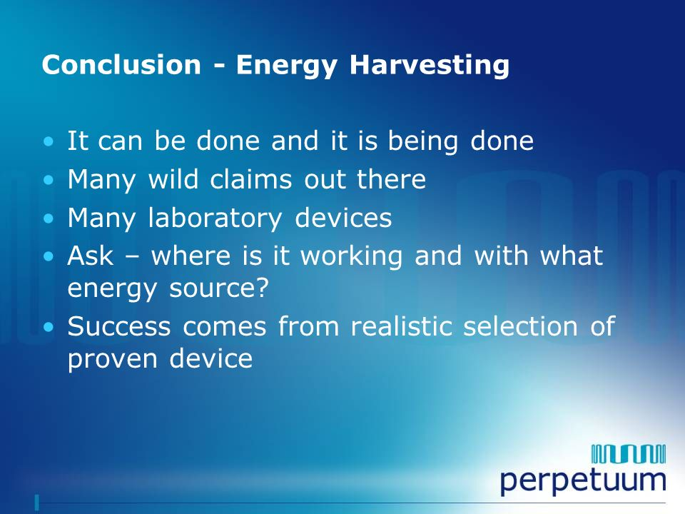 Conclusion - Energy Harvesting