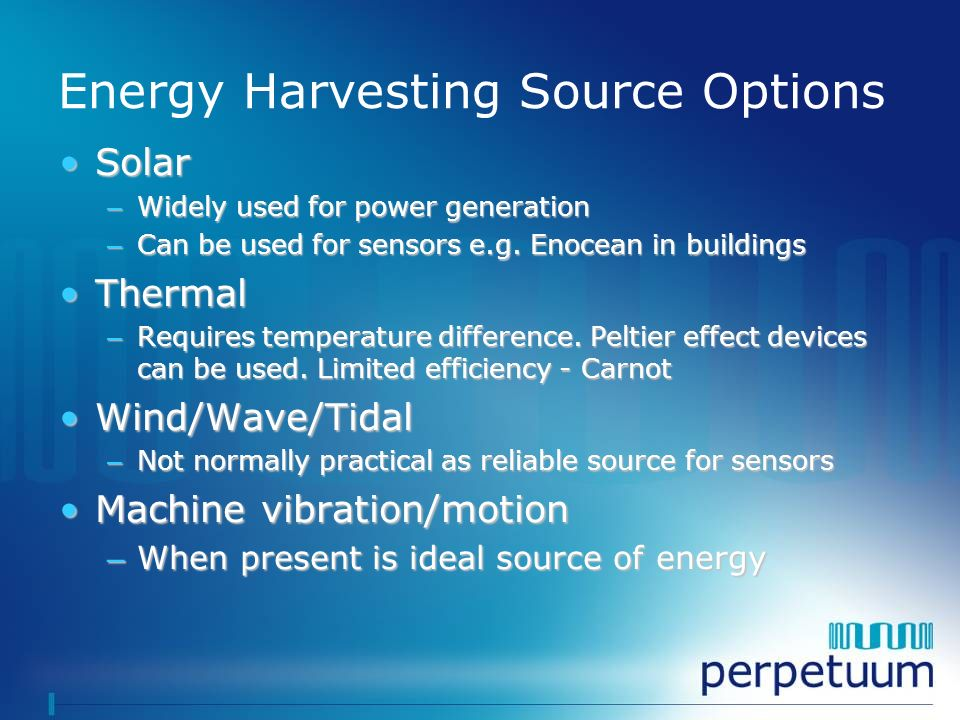 Energy Harvesting Source Options