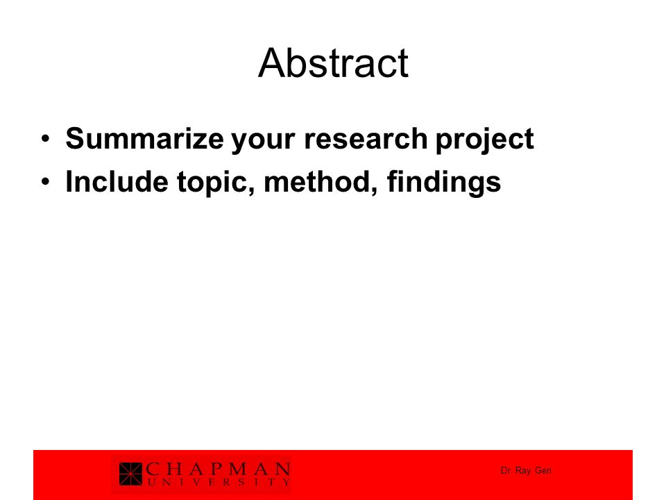 Abstract Summarize your research project