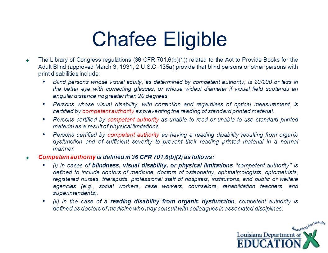 Chafee Eligible
