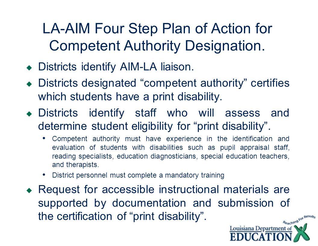 LA-AIM Four Step Plan of Action for Competent Authority Designation.