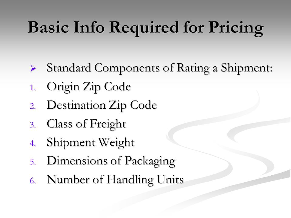 Basic Info Required for Pricing