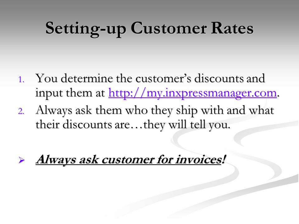 Setting-up Customer Rates