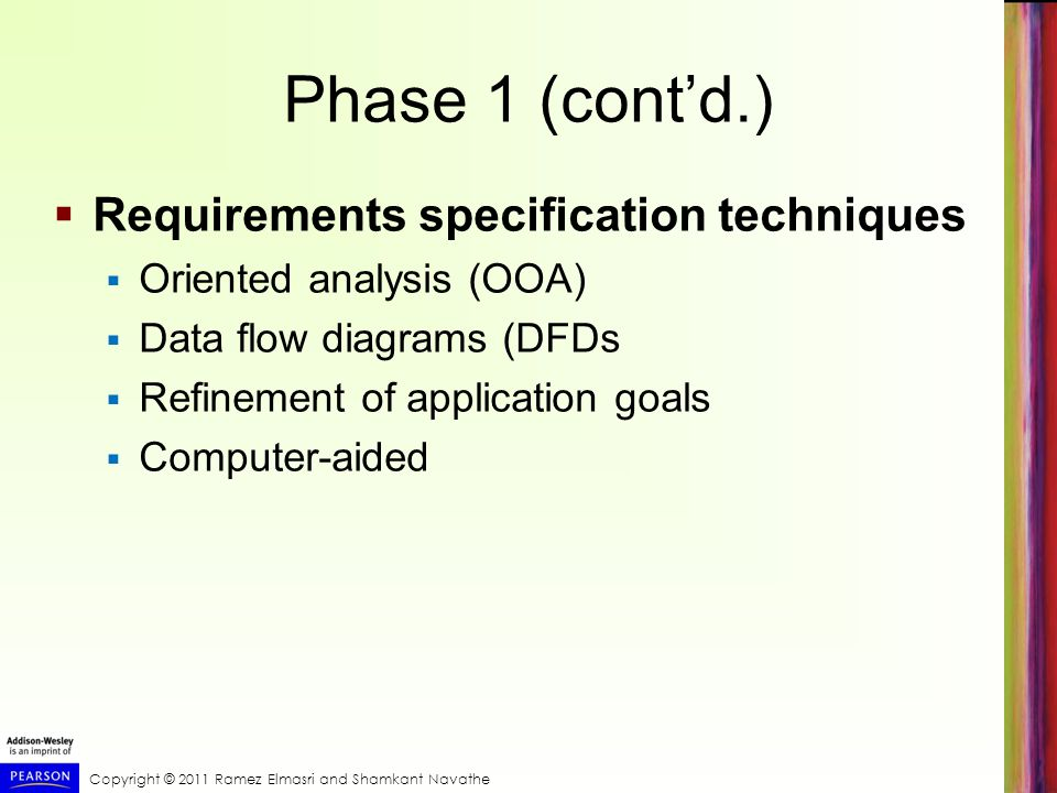 Phase 1 (cont'd.) Requirements specification techniques