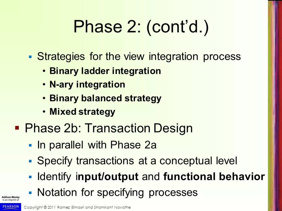 Phase 2: (cont'd.) Phase 2b: Transaction Design