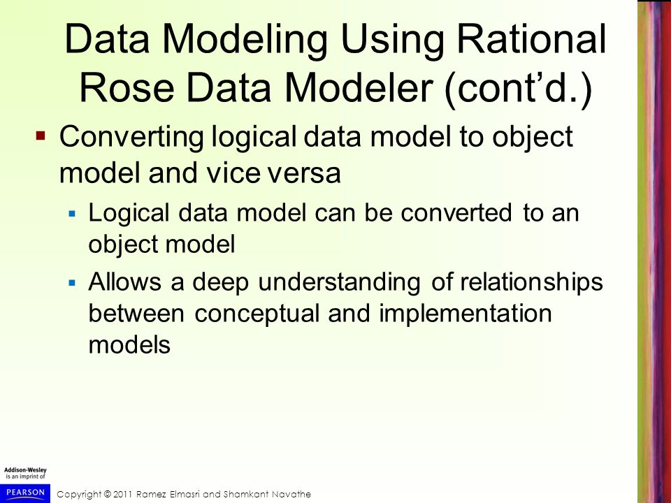 Data Modeling Using Rational Rose Data Modeler (cont'd.)