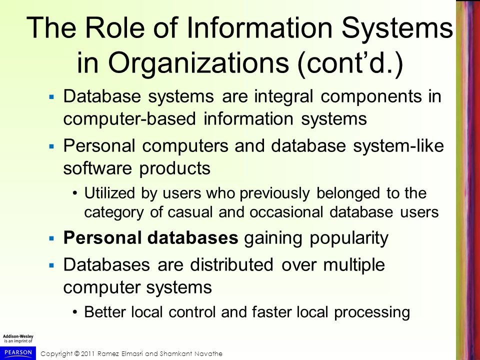 The Role of Information Systems in Organizations (cont'd.)
