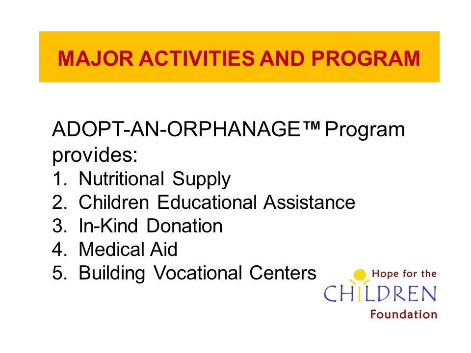 MAJOR ACTIVITIES AND PROGRAM