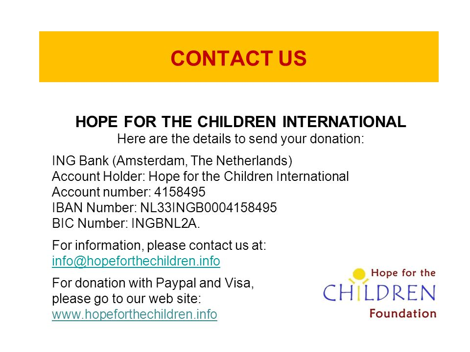 HOPE FOR THE CHILDREN INTERNATIONAL