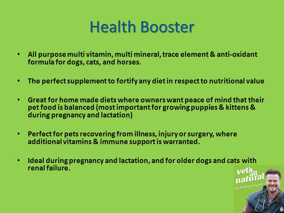 Health Booster All purpose multi vitamin, multi mineral, trace element & anti-oxidant formula for dogs, cats, and horses.