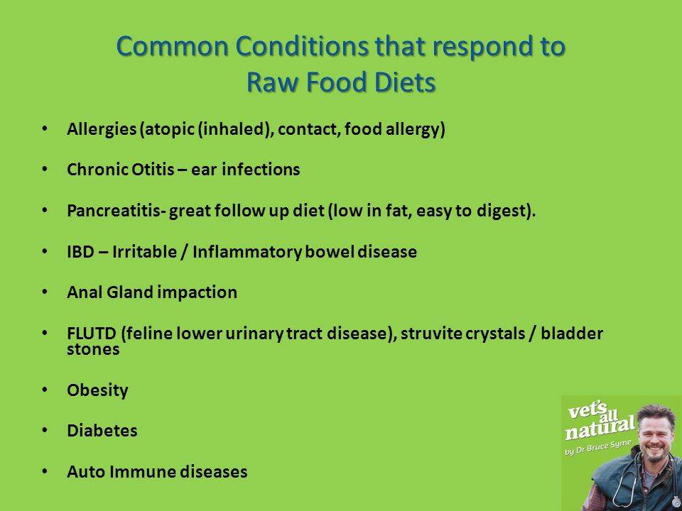 Common Conditions that respond to Raw Food Diets