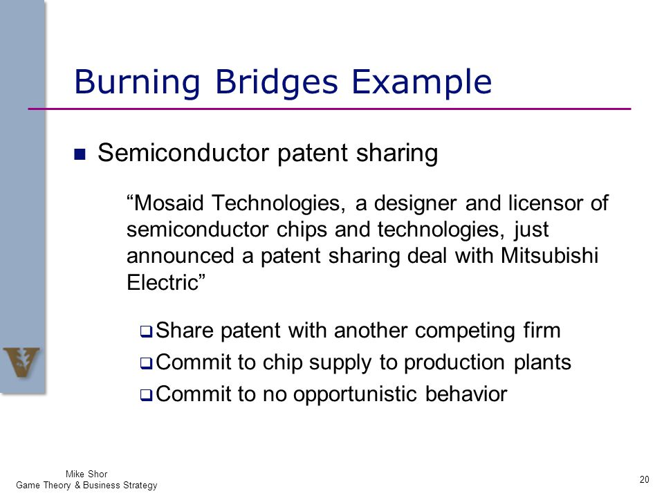 Burning Bridges Example