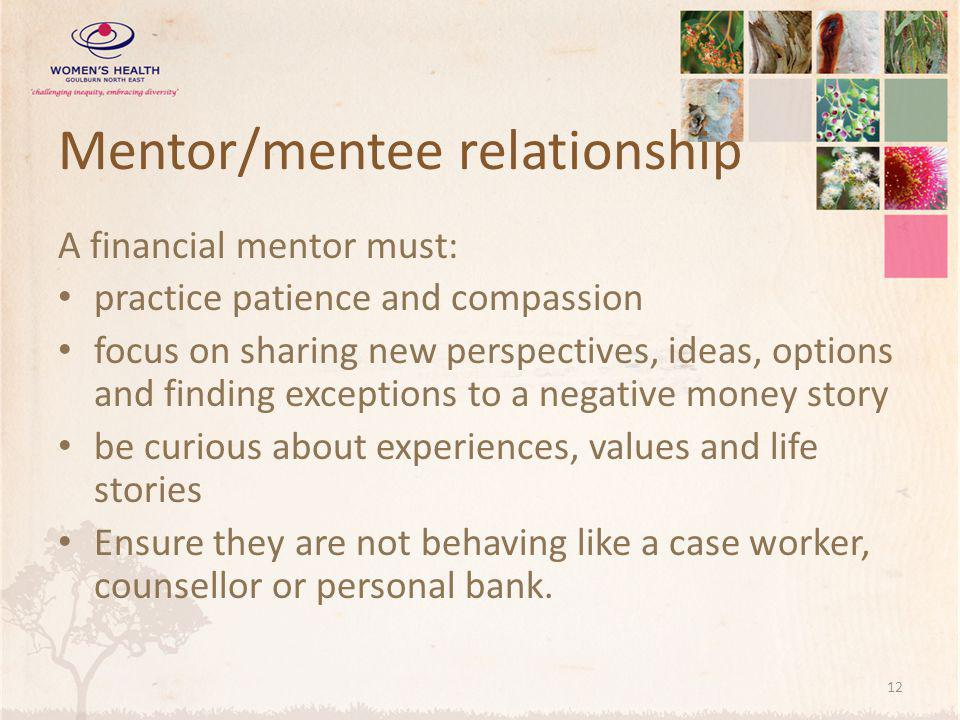 Mentor/mentee relationship