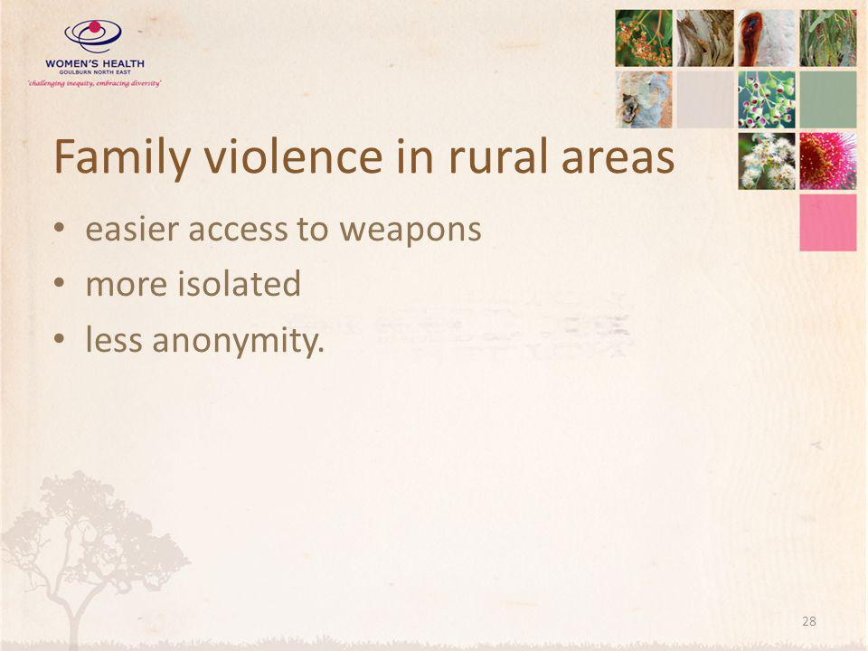 Family violence in rural areas