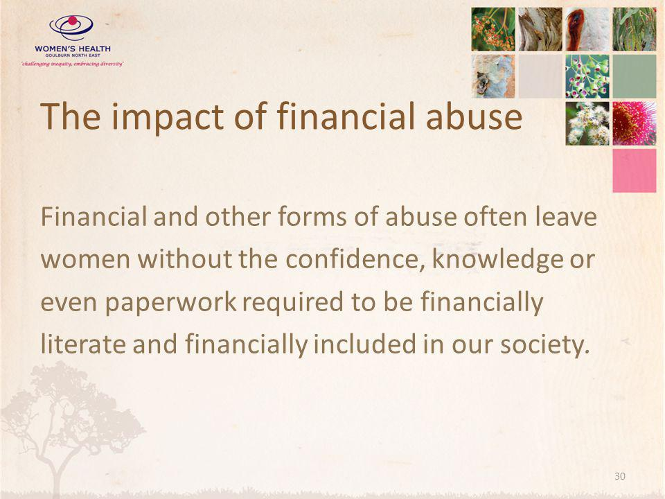The impact of financial abuse