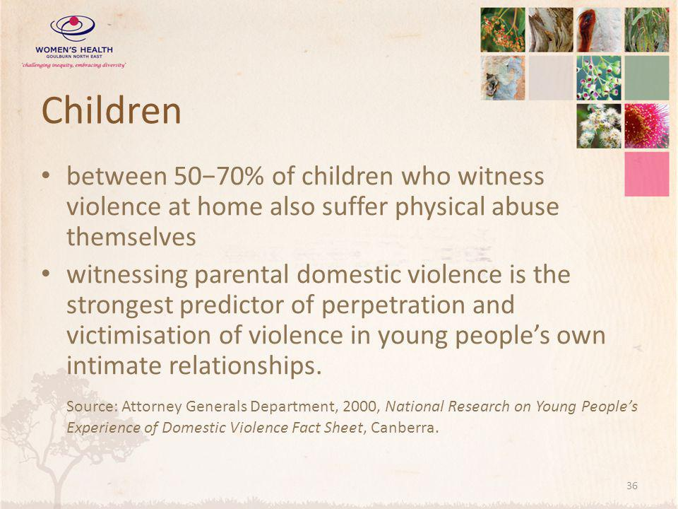 Children between 50−70% of children who witness violence at home also suffer physical abuse themselves.