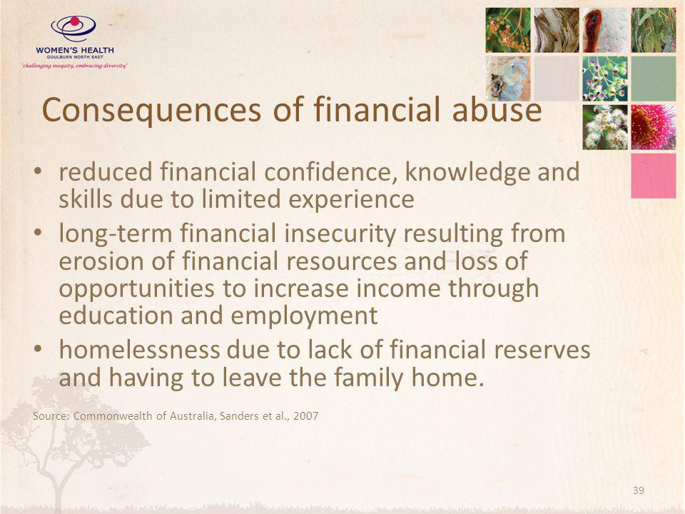 Consequences of financial abuse