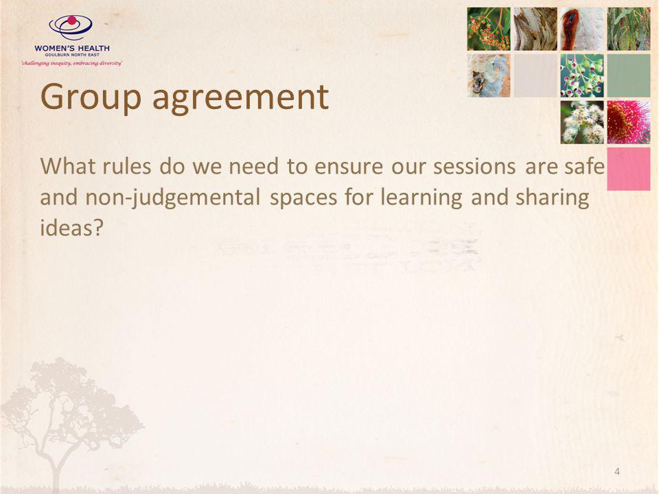 Group agreement What rules do we need to ensure our sessions are safe and non-judgemental spaces for learning and sharing ideas