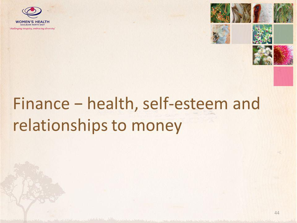 Finance − health, self-esteem and relationships to money