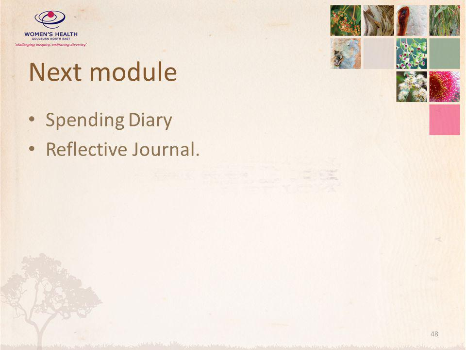 Next module Spending Diary Reflective Journal.