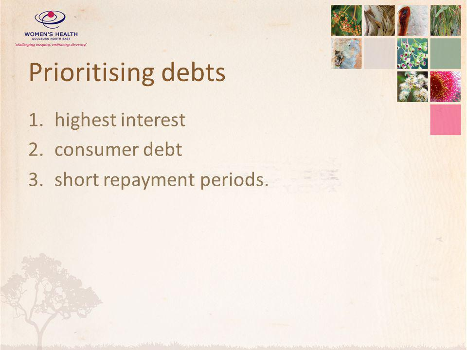 Prioritising debts highest interest consumer debt