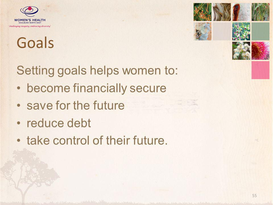 Goals Setting goals helps women to: become financially secure