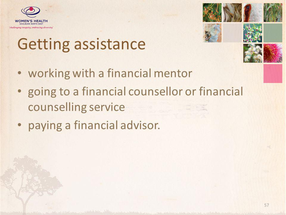 Getting assistance working with a financial mentor