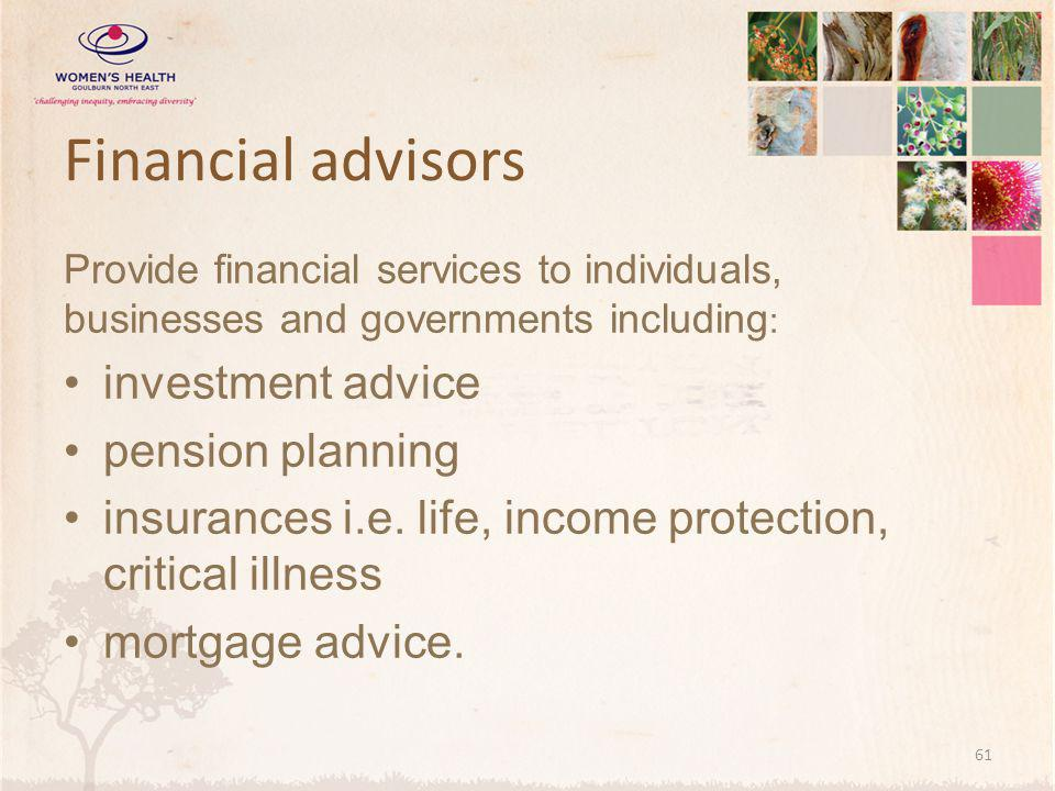 Financial advisors investment advice pension planning