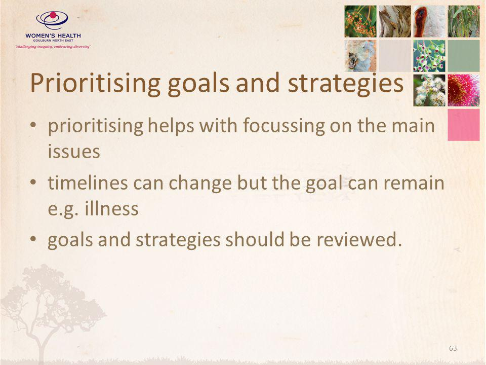 Prioritising goals and strategies