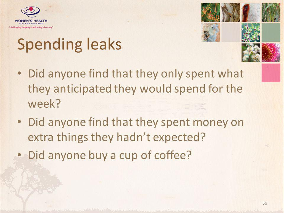 Spending leaks Did anyone find that they only spent what they anticipated they would spend for the week