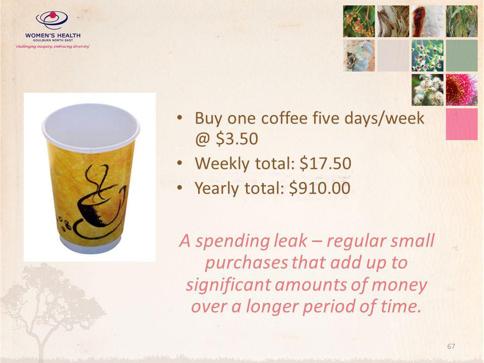 Buy one coffee five days/week @ $3.50
